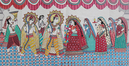Hand painted Mithila painting of Marriage Ceremony