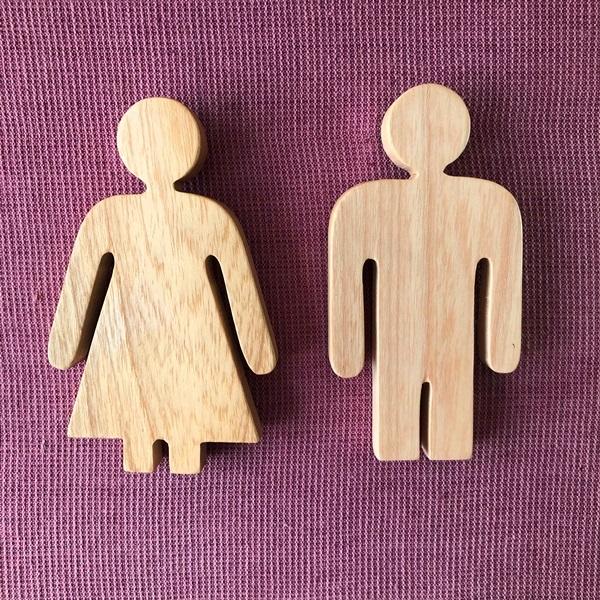 Wooden Men & Women's Restroom Sign Set