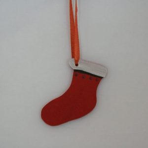 Wood Painted Hanging Santa Shoe