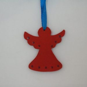 Wood Painted Hanging Angel