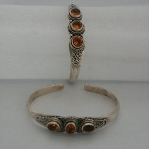 Silver Three Stone Akura with Golden Topaz Bangle
