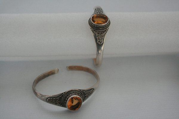 Silver One Stone Golden Topaz Bangle