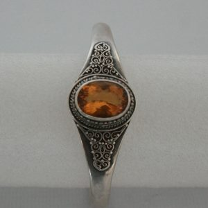 Silver One Stone Golden Topaz Bangle