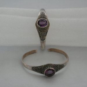Silver One Stone with Akura Amethyst Bangle