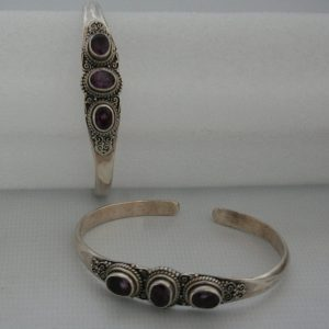 Silver Three Stone Akura with Amethyst Bangle