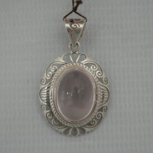 Silver Quartz Rose Jail Small Pendant