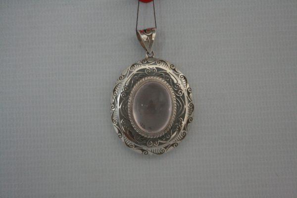 Silver Rose Cabochon Stone Pendant