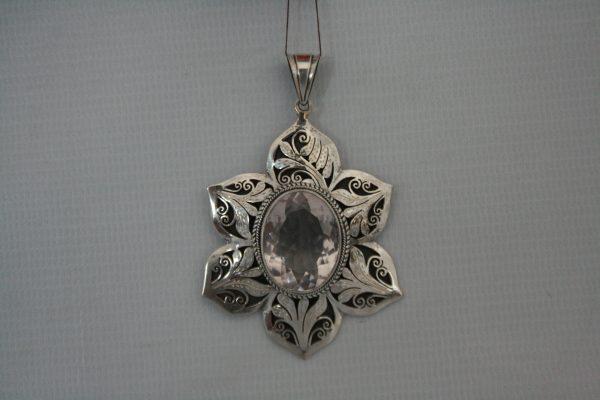 Silver Rose Quartz Cutting Jali Pendant