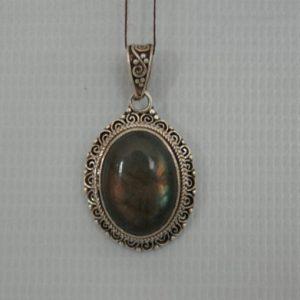 Silver Rose Quartz Cabochon Stone With Akura Pendant