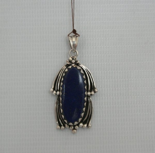 Silver Leaf Pendant With Lapis Stone