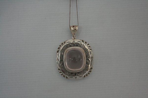 Silver Rose Cabochon Stone Jali Pendant