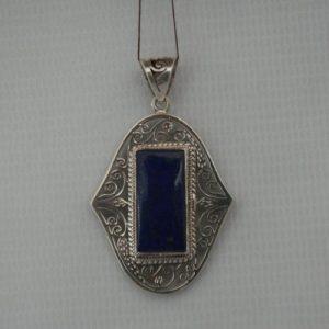 Silver Jail Lapis Stone Pendant
