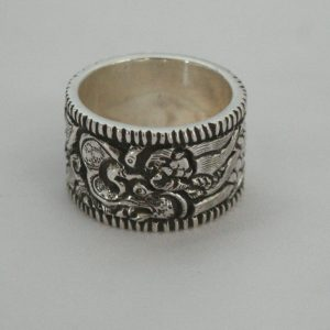 Silver Dragon Carved Ring