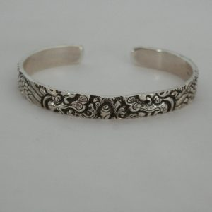 Silver Dragon Carving Bangle