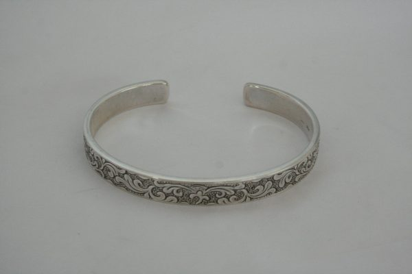 Silver Heavy Carved Bangle