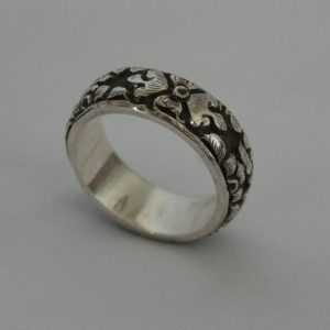 Silver Deep Carving Ring