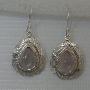 Silver Rose Quartz Jali Earring