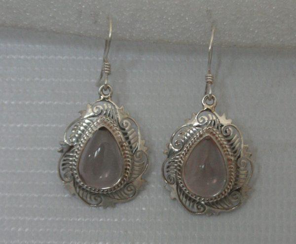 Silver Rose Quartz Jali Earring