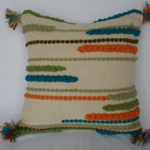 Woolen Beaded Colorful Cushion Cover