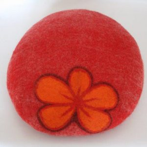 Felt Round Cushion with Flower