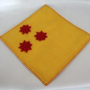 Felt Square Cushion with Flower