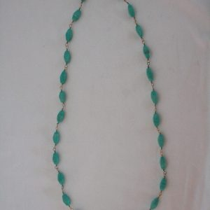 White Metal Necklace with Turquoise Beads (Set)