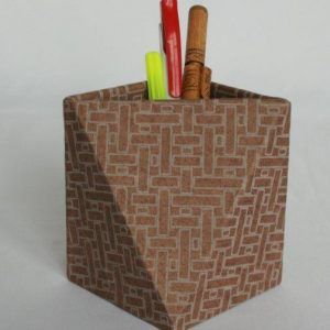 Dhukuti Printed Pencil Holder Diamond Shape Cut