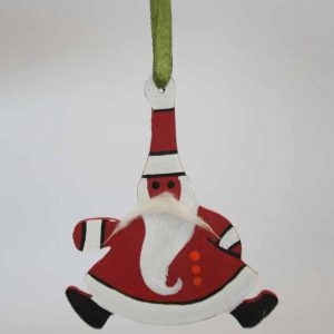 Wooden Painted Hanging Santa
