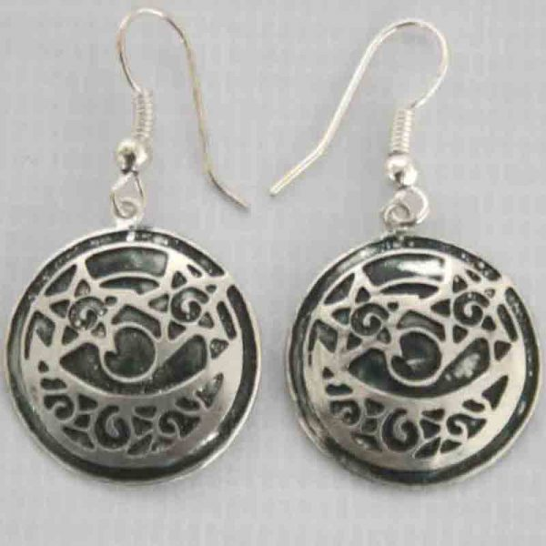 Silver Plated Round Shape Earrings