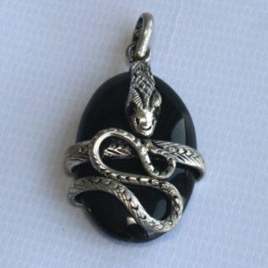 White Metal Snake Pendant With Stone